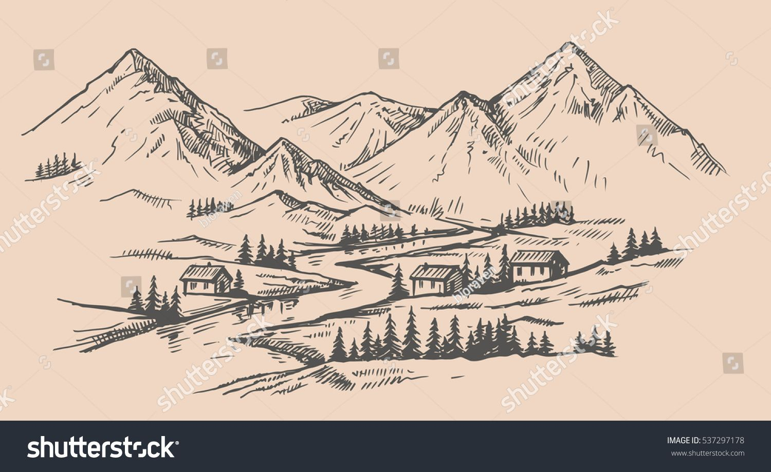 Wood Cabins In Mountain Landscape Vector Illustration Mountain Landscape Vector Illustration Cabin Tattoo