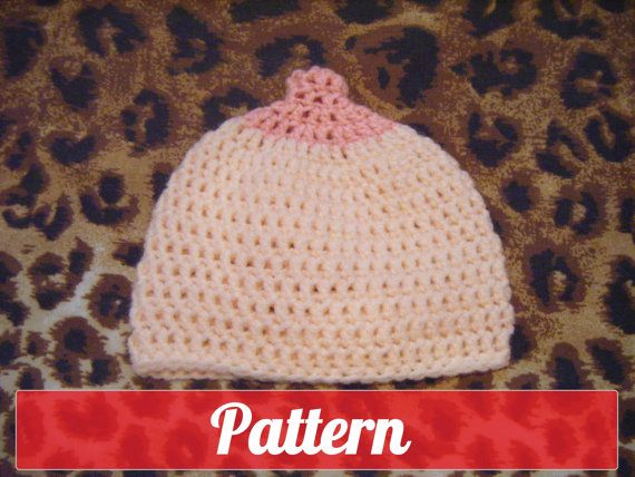 PDF PATTERN Boob beanie crochet nursing maternity hat pro breast feeding  booby 3 years to adult size permission to sell what you make. £2.50 d869fb52bb5