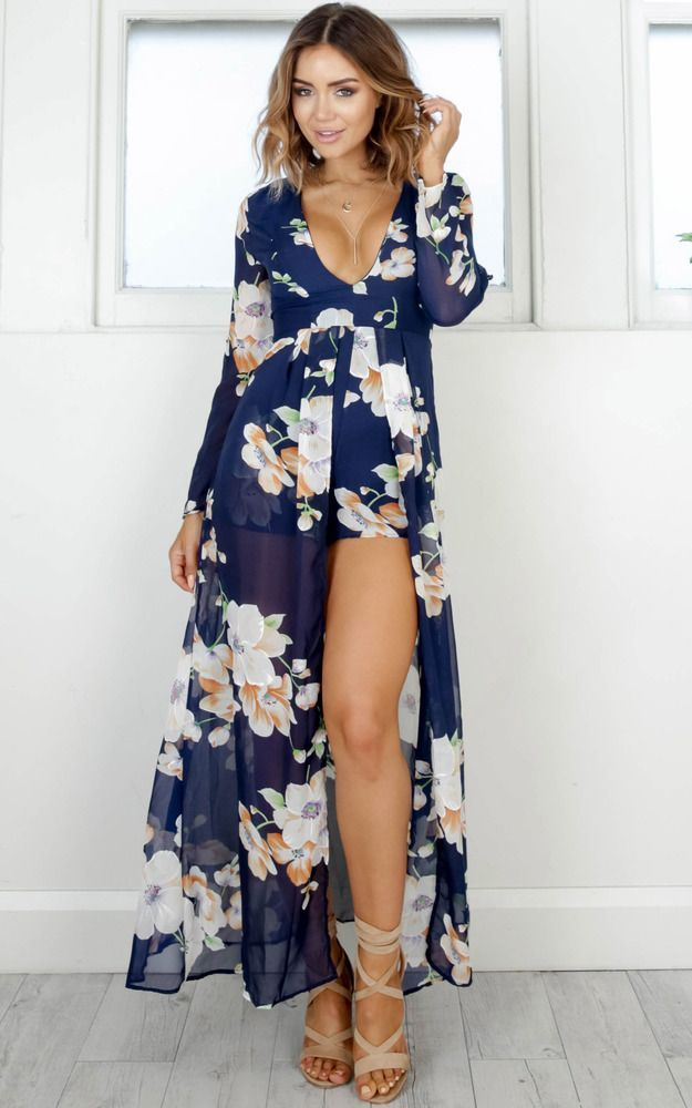 32f94a545 Steal The Show Playsuit In Navy Tropical Floral Produced in 2019 ...