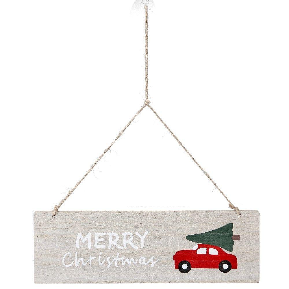 Pancarte De Noël Voiture Avec Sapin Design Merry Christmas