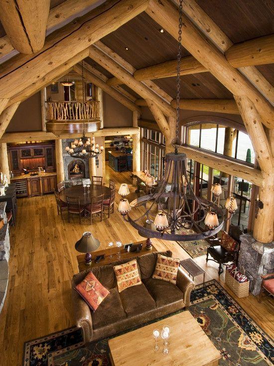 log cabin interiors open floor plans floors log cabin designs rh pinterest com