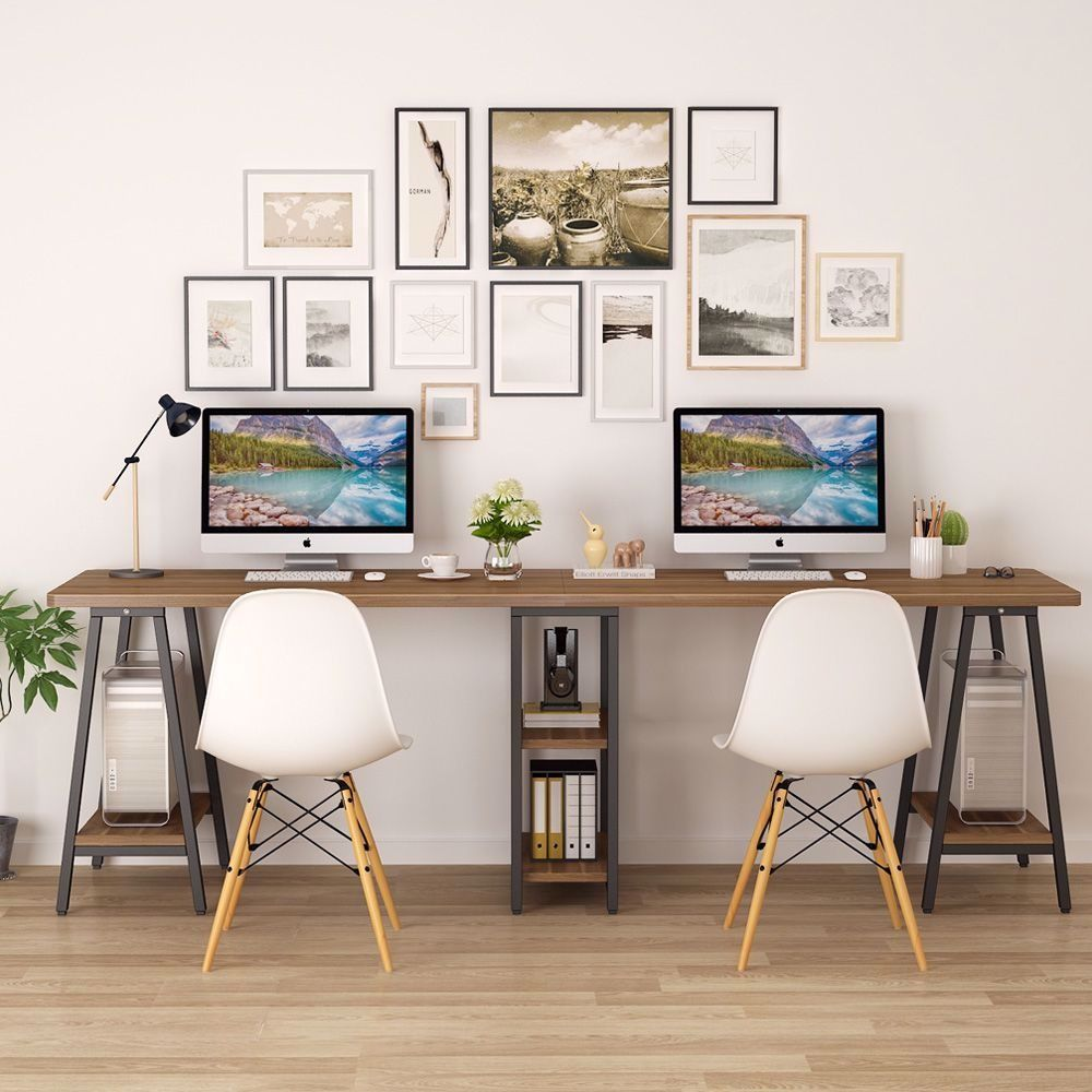 Extra Long Two Person Desk With Storage Shelf Home Office Design Home Desk Home Office Desks