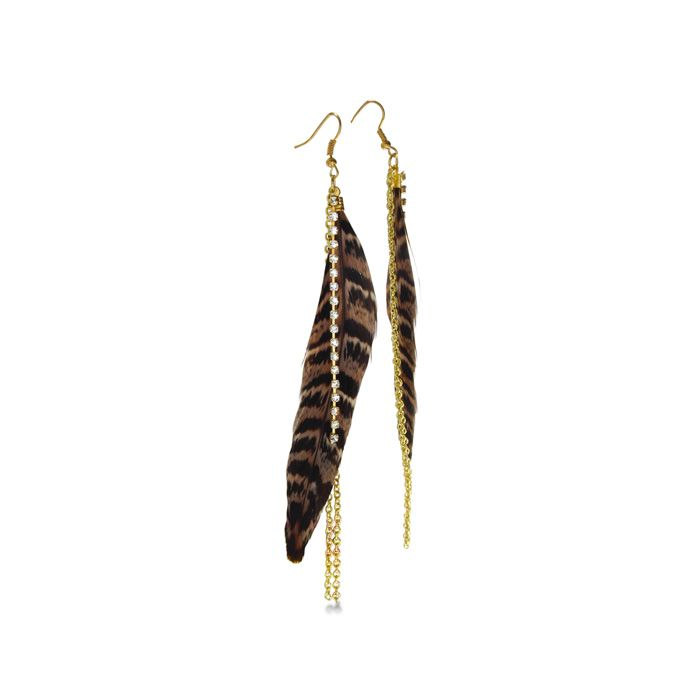 (Limited Supply) Click Image Above: Cheetah Print Dangle Feather Earrings, 5 1/2 Inches
