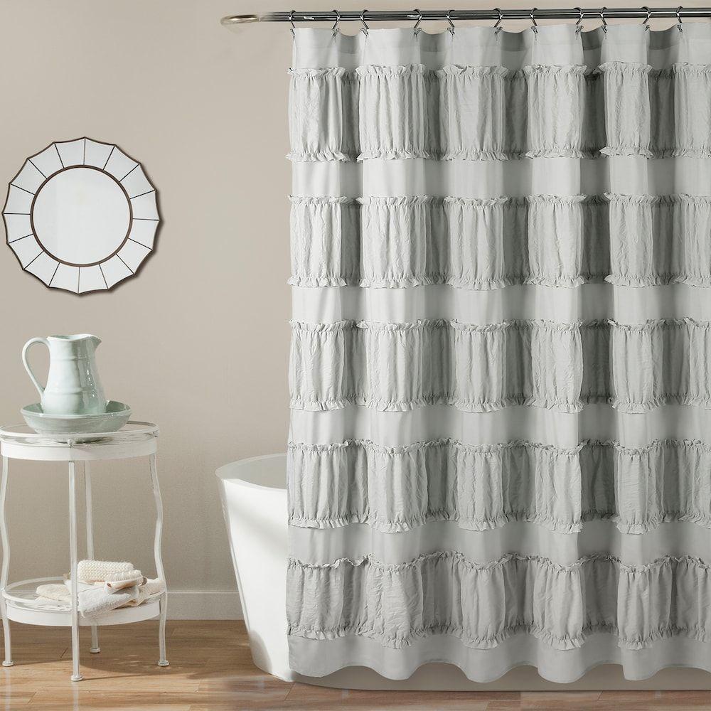 Lush Decor Nova Ruffle Shower Curtain Grey 72x72 Ruffle Shower