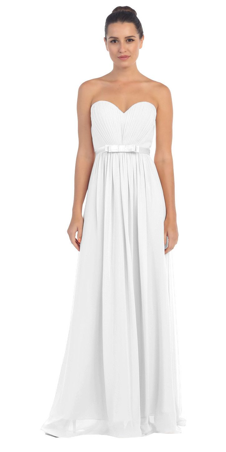 Starbox usa l strapless off white pleated bust empire waist