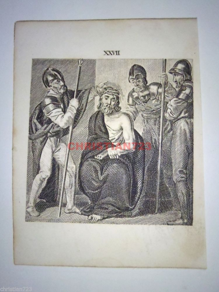 1805 JESUS CROWNED WITH THORNS ENGRAVING FROM BIBLE PRINT NEW TESTAMENT