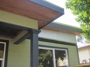 Modern Bungalow Redux modern stained wood soffit and dark