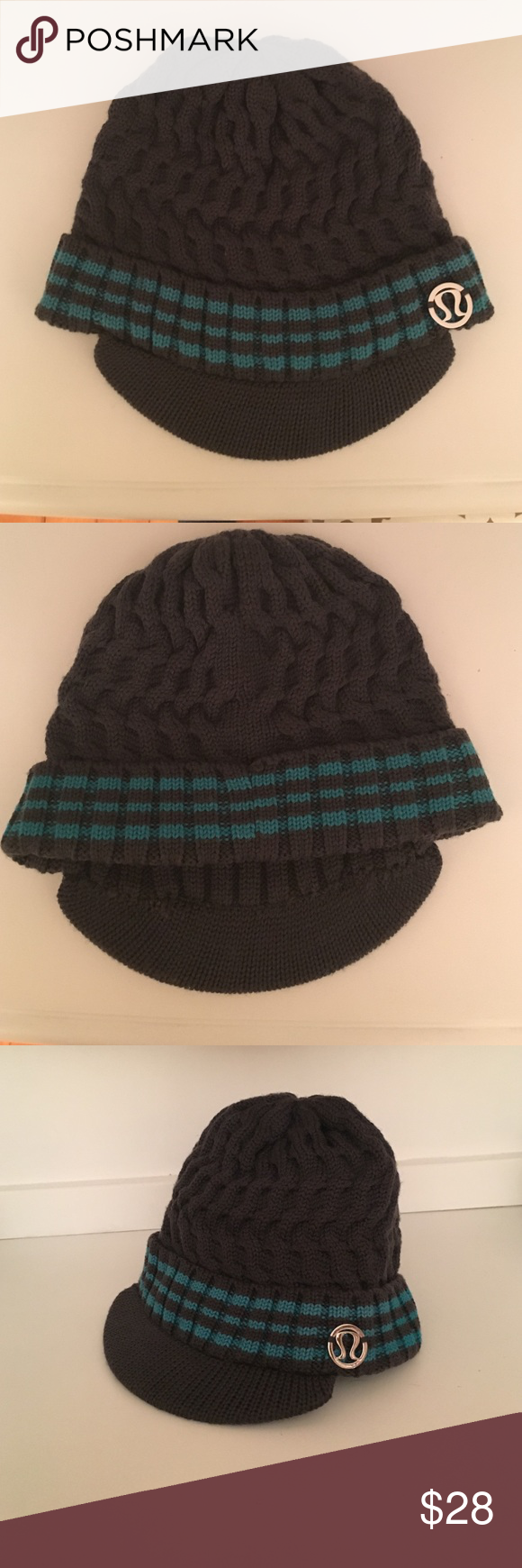 a13fd1fd784 Lululemon Striped Brimmed Beanie-Charcoal and Teal Made from 100% merino  wool (non-itchy) is super soft and warm. The brim provides a small visor as  well a ...
