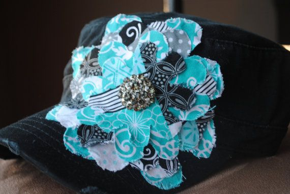 Blue and Black Frayed Cadet flower hat. by Ebowsboutique on Etsy, $30.00