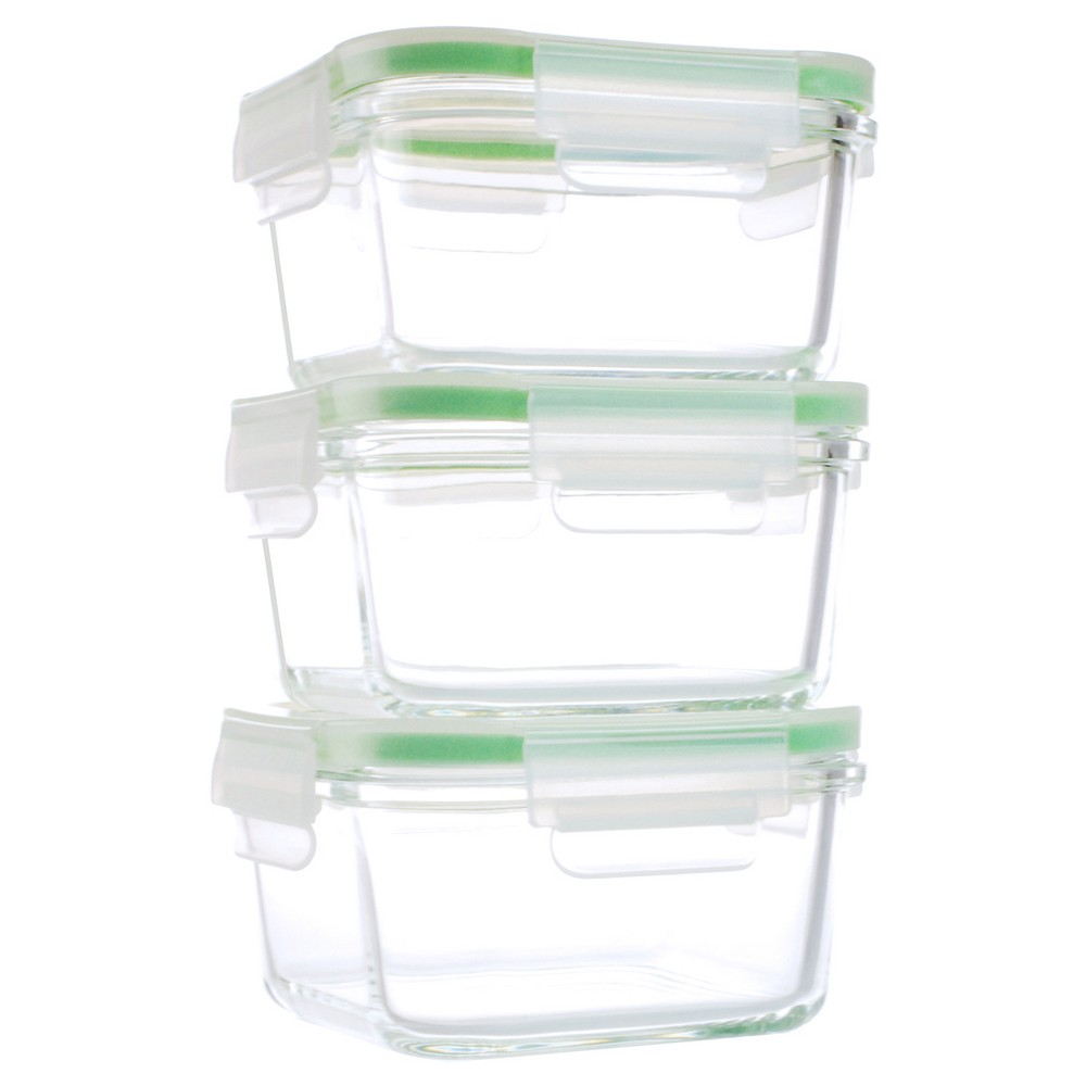 Kinetic Go Green Glassworks Kinetic GoGreen Glassworks 6 Piece Square Oven  Safe Glass Food Storage Container Set With Lid; 15 Oz.
