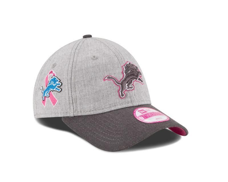 881527351 NFL New Era Detroit Lions Mens 2015 A Crucial Catch Breast Cancer Awareness 39  Thirty Hat-Grey w Pink