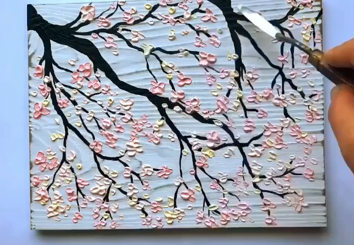 Palette Knife Painting Cherry Blossom Tree Pink Peach Feminine Luxurious A Video Cherry Blossom Painting Cherry Blossom Painting Acrylic Acrylic Painting Flowers