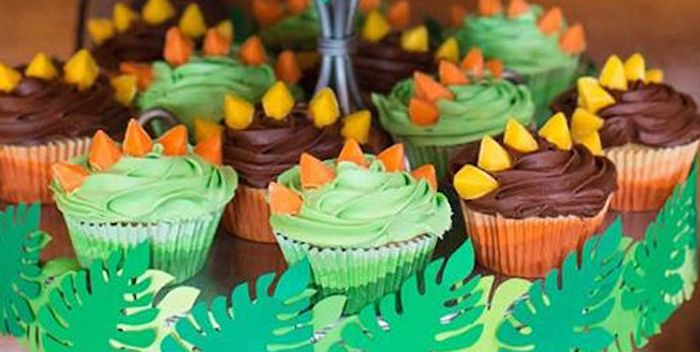 Stegosaurus Cupcakes from a Dinosaur Birthday Party via Karas Party