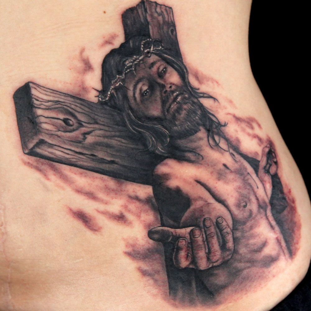 Black gray religious tattoo by jason clay dunn black for Omega tattoo jackson heights