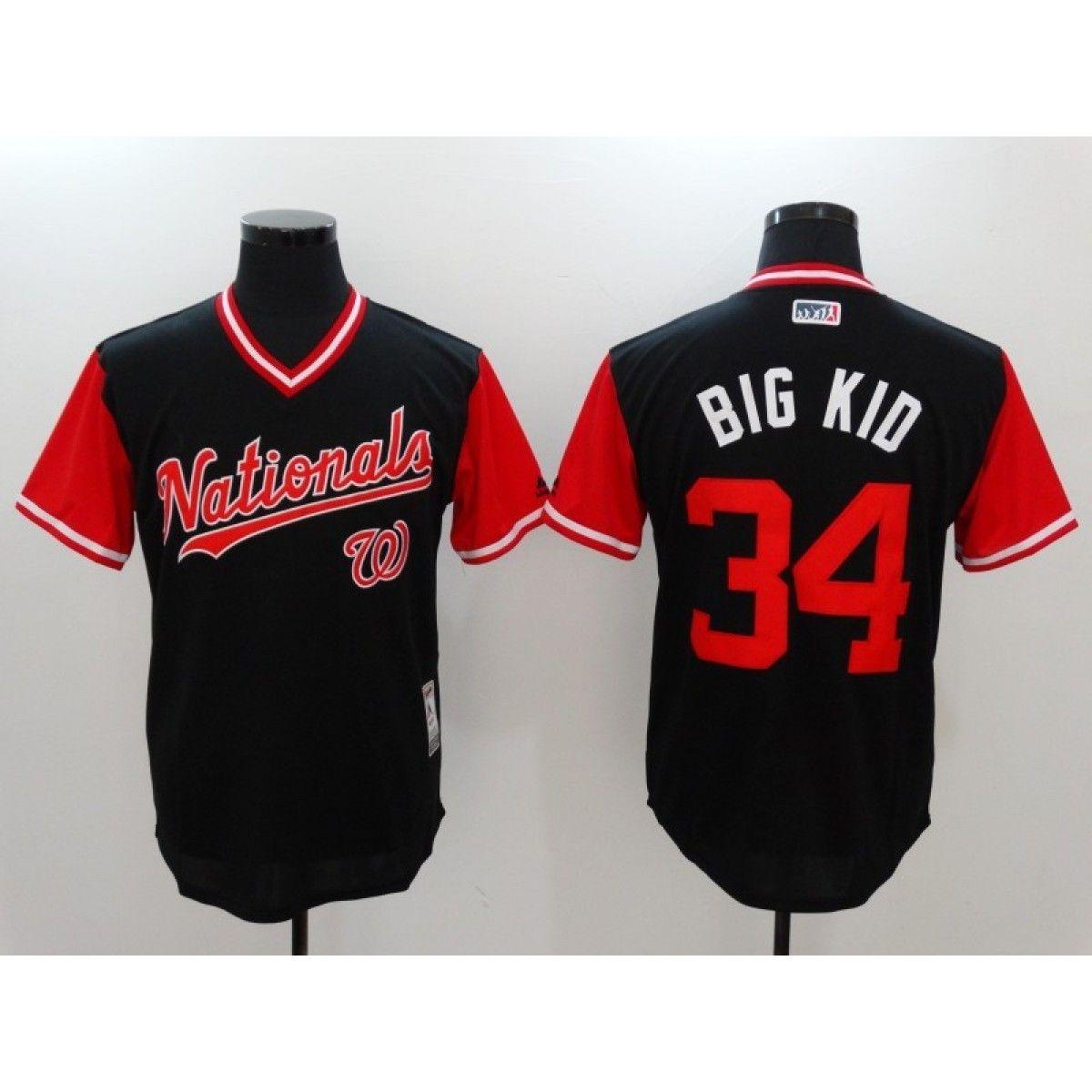 best authentic 436eb c0676 MLB Nationals 34 Bryce Harper Big Kid Majestic Navy 2017 ...