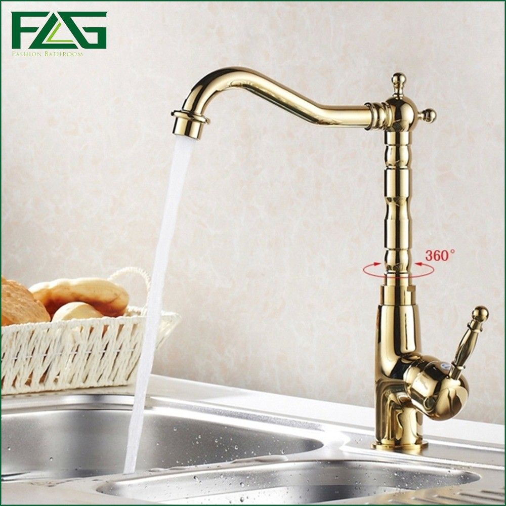Luxury Kitchen Faucet Deck Mounted Gold Kitchen Faucet 360 Degree Swivel  Rubinetti Cold And Hot Kitchen