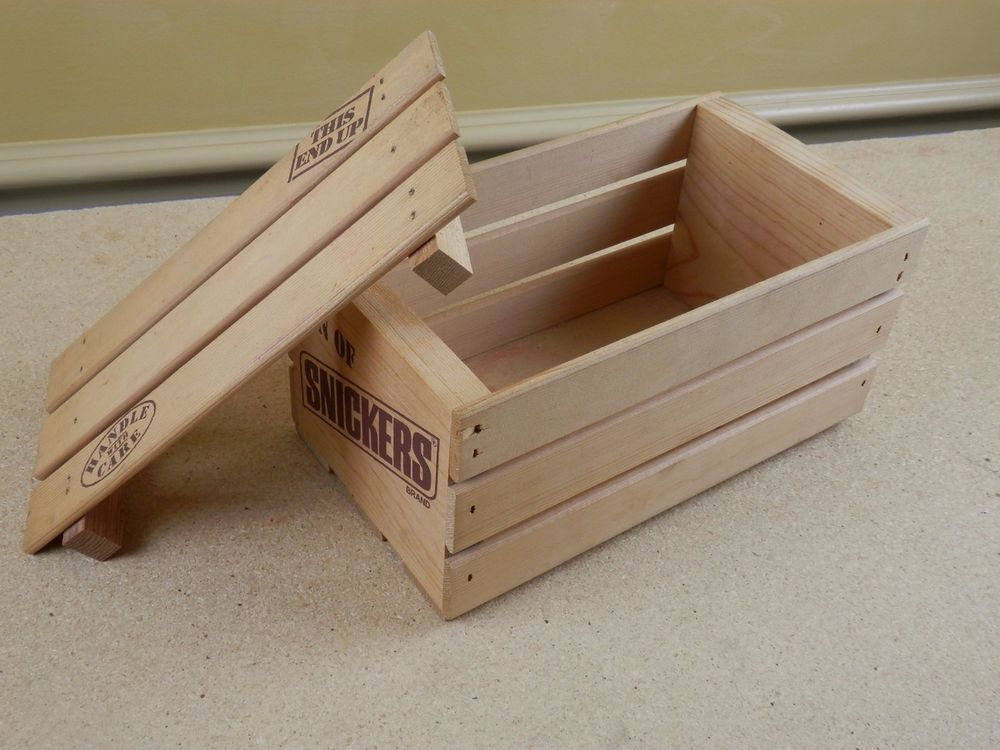 Ton Of Snickers Wood Crate With Lid Wooden Slat Candy Advertising