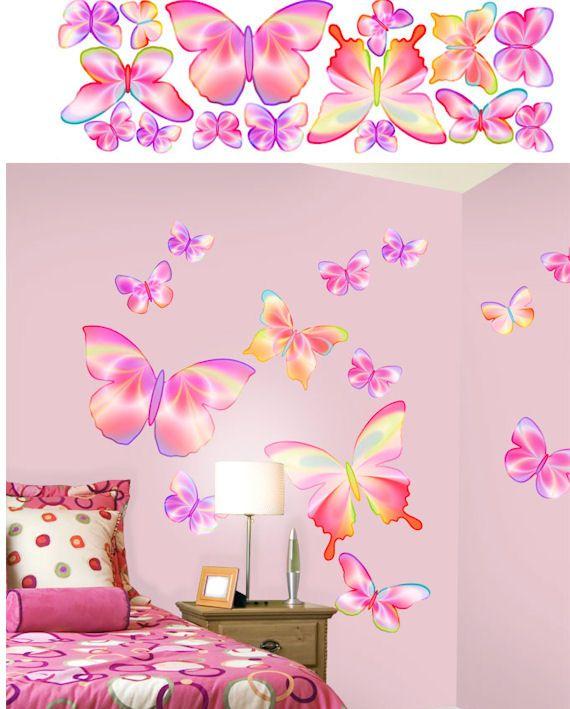 Pics Photos Pink Doodle Butterfly Border Wall Sticker Outlet Flutter  Butterflies Decals Rosenberryrooms