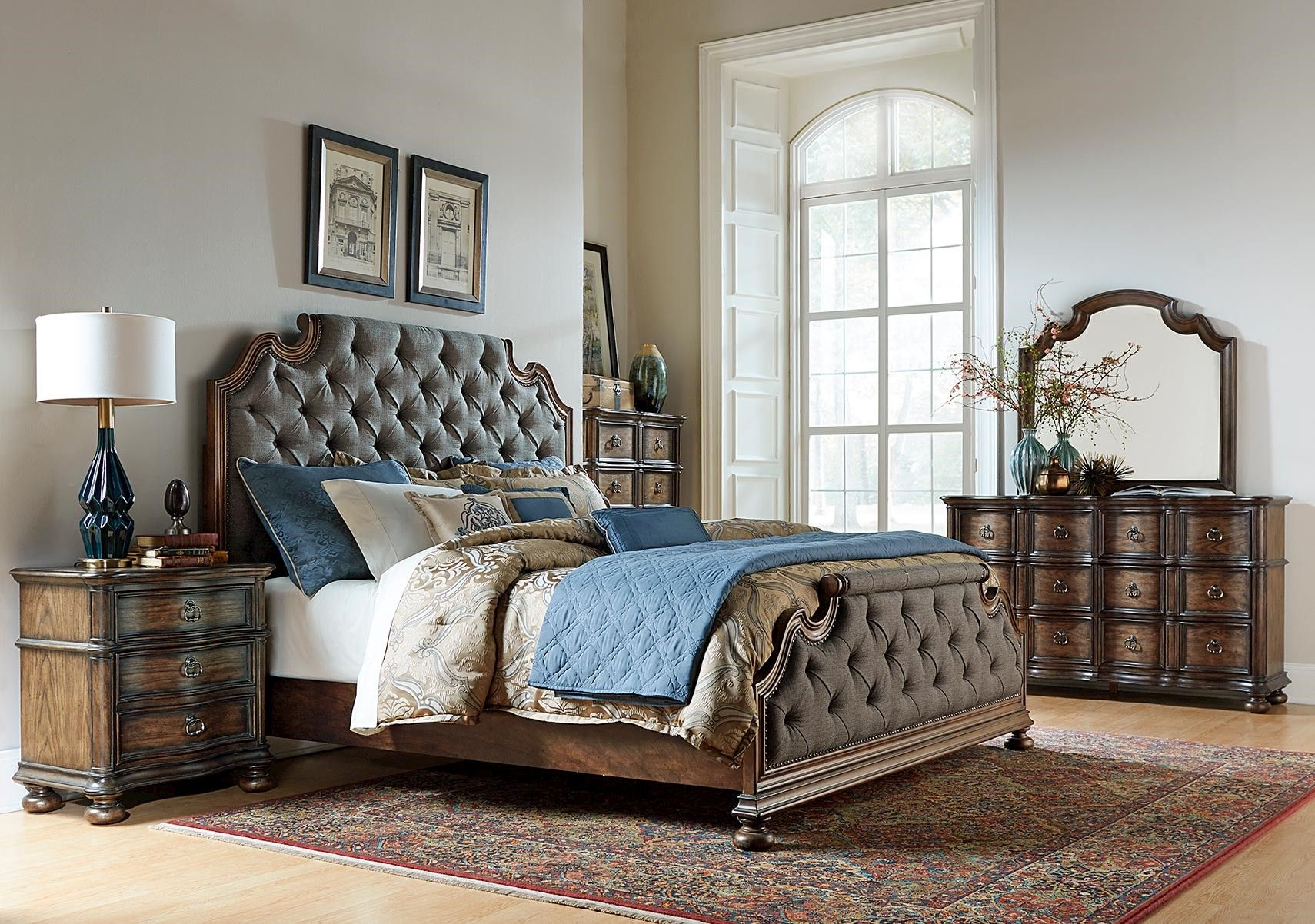 Lacks | Tuscany Valley 4-Pc Queen Bedroom Set | Transitional Style ...
