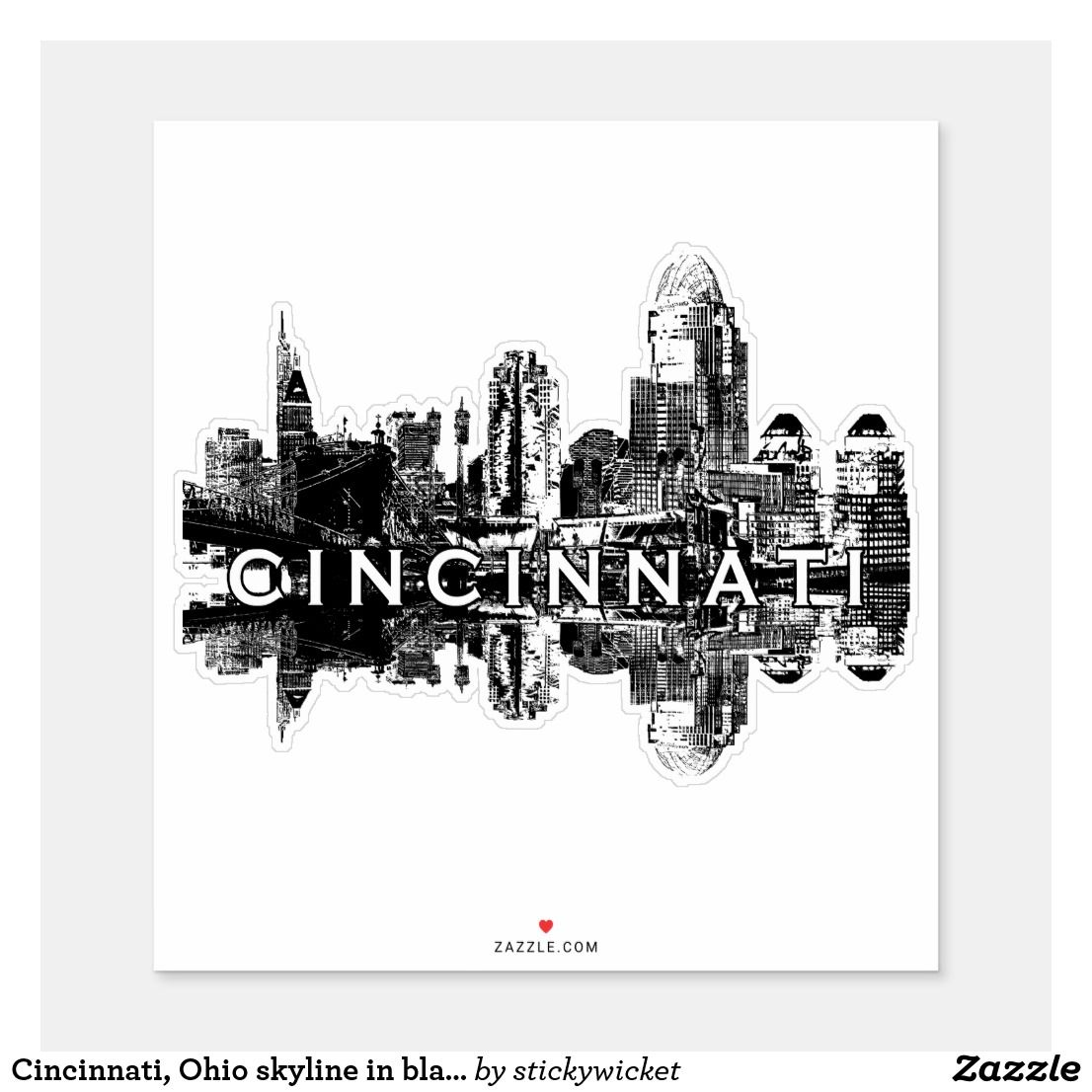 Cincinnati, Ohio skyline in black ink Sticker