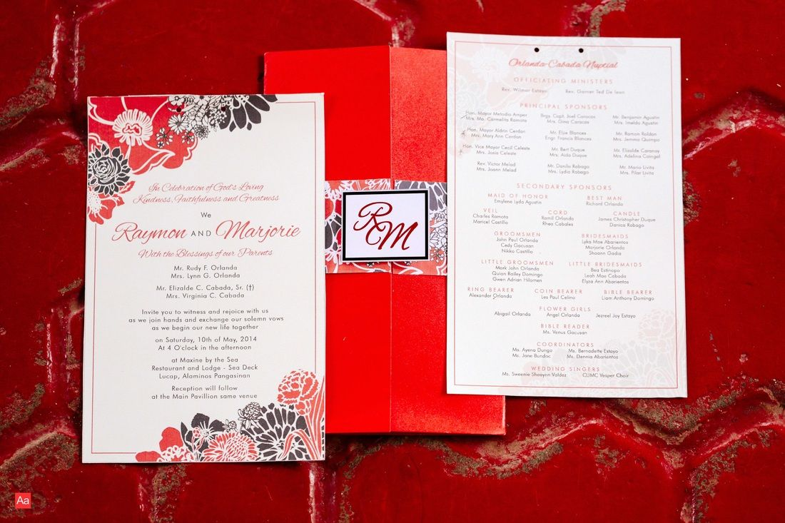 Wedding in the Philippines Red Floral Wedding Invitations http://www ...
