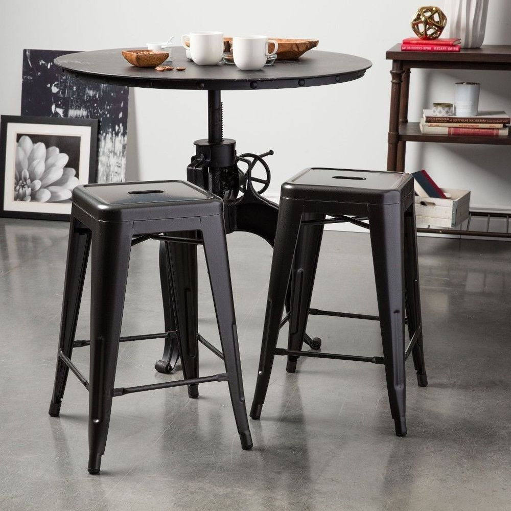 24 Inch Charcoal Grey Metal Transitional Counter Stools Set Of Two