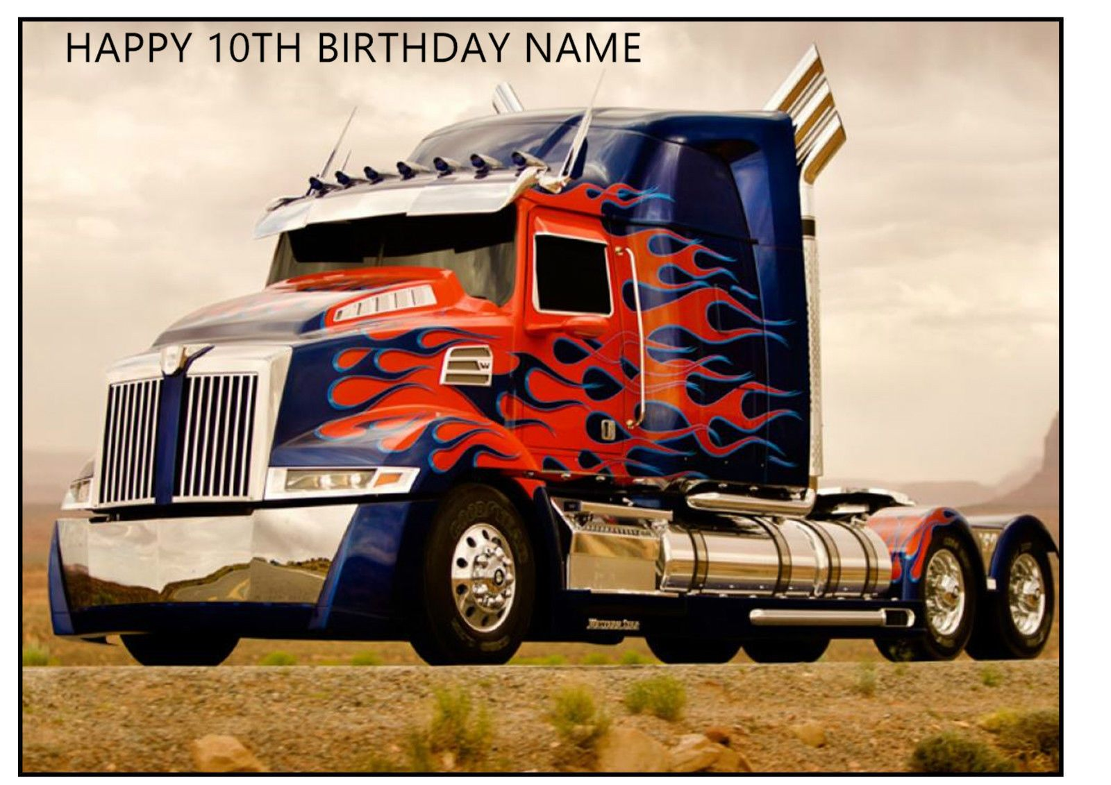 Optimus Prime Transformers Truck A4 Rectangle Edible Icing Sheet