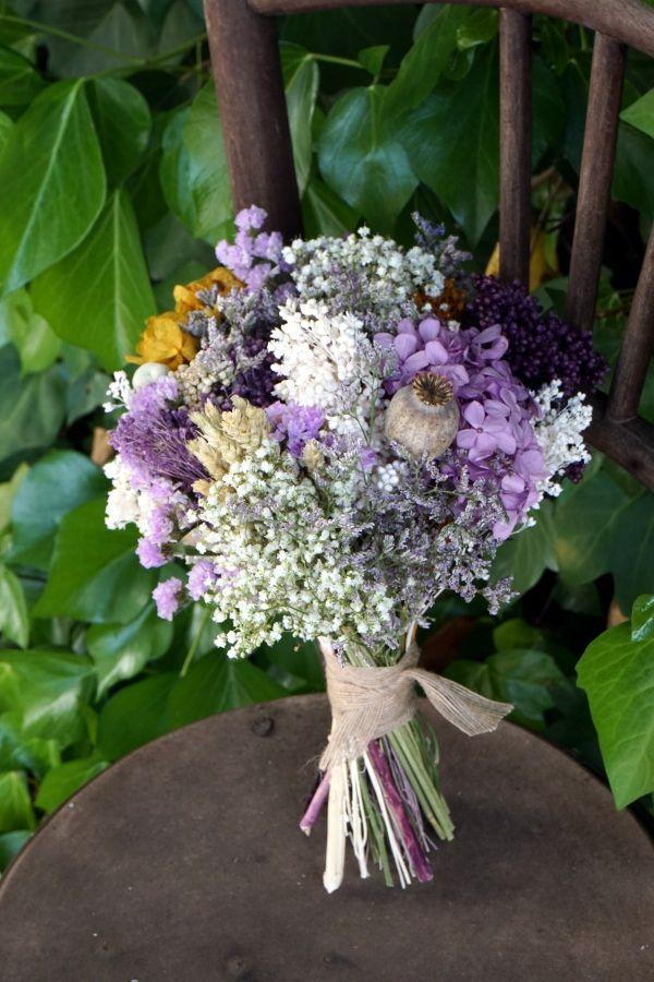 ramo de novia con flores preservadas hortensias lavanda uy secas