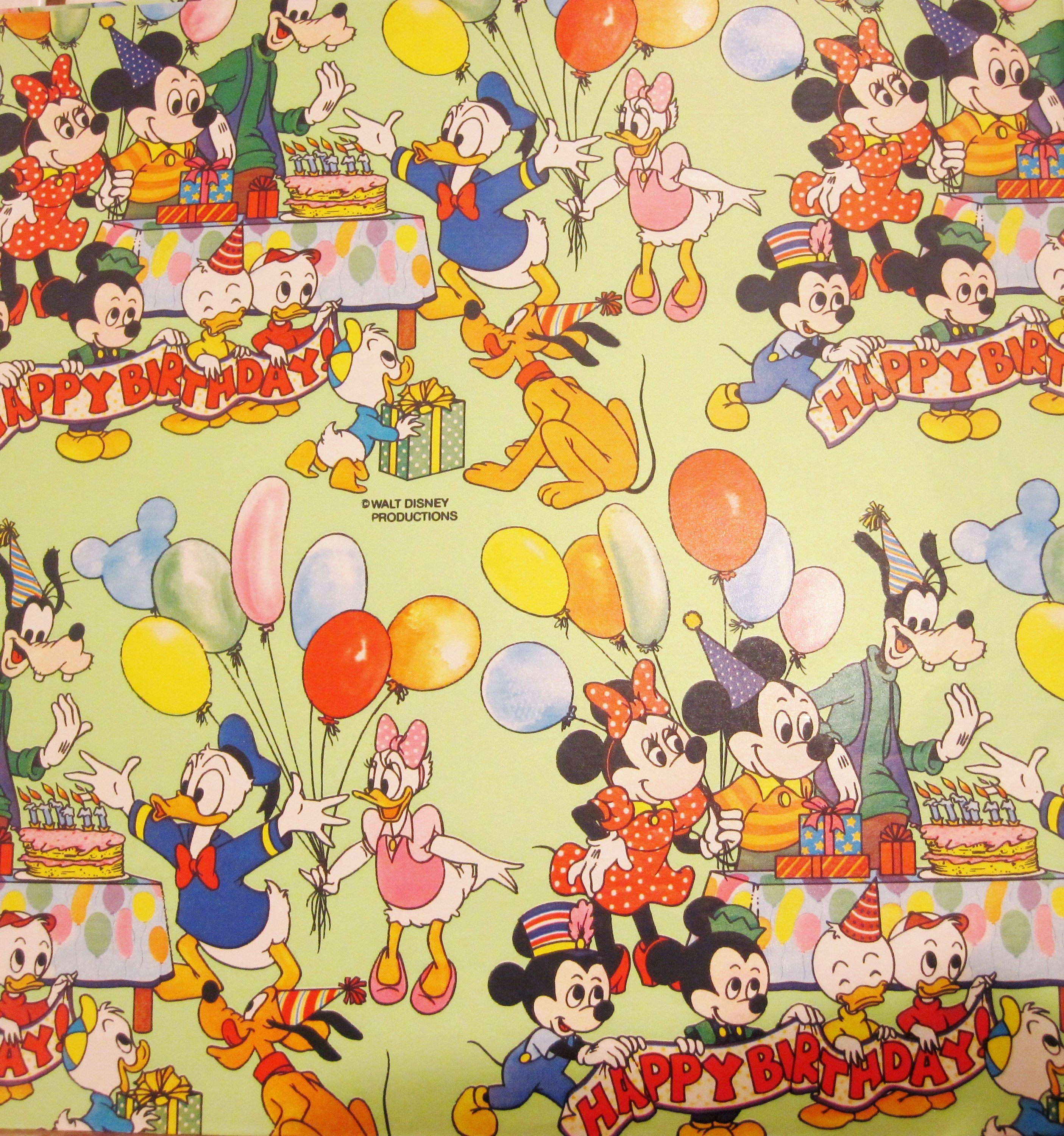 Vintage Wrapping Paper Disney Birthday Full Sheet Gift