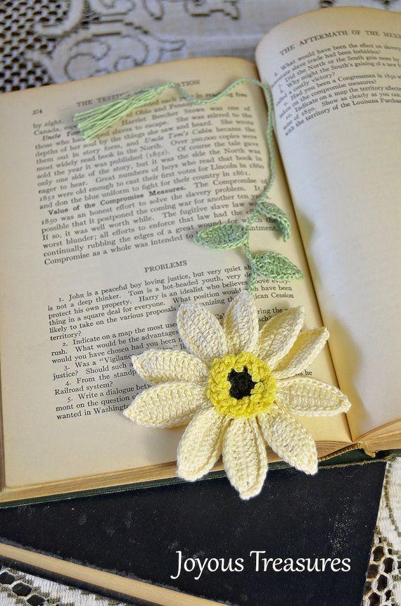 Marcapáginas hechos a mano del ganchillo Flor marcador