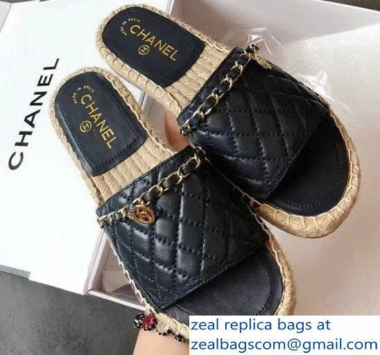 718f84f6c089 Chanel Lambskin Quilting Chain Mules Espadrilles G33352 Navy Blue 2018