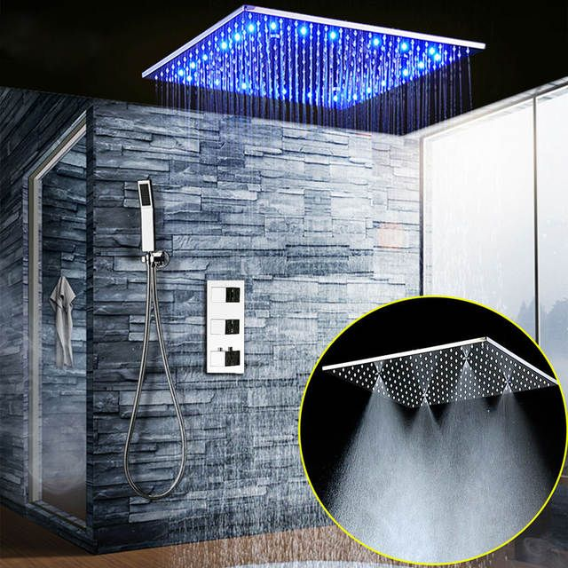 Online Shop Bathroom Fixture Shower System 20 Inch Led Mist Rain Shower Ceiling Shower Faucet Set Panel Thermostatic Mixer/ Handheld Shower | Aliexpress Mobile