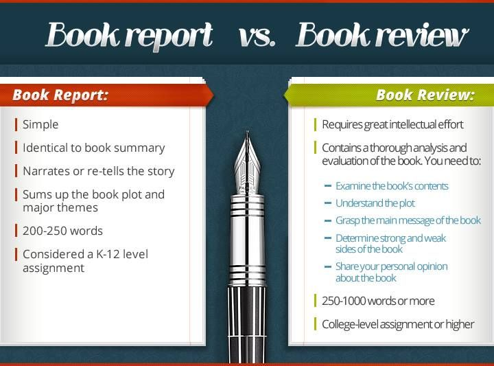Comparison of main features of book review vs. a book report ...