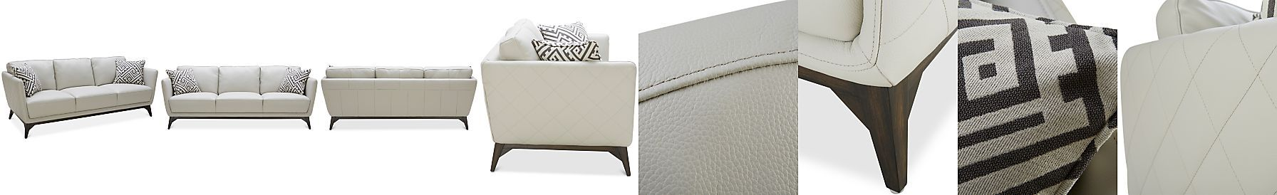 Kourtney Quilted Side Leather Sofa Kourtney Quilted