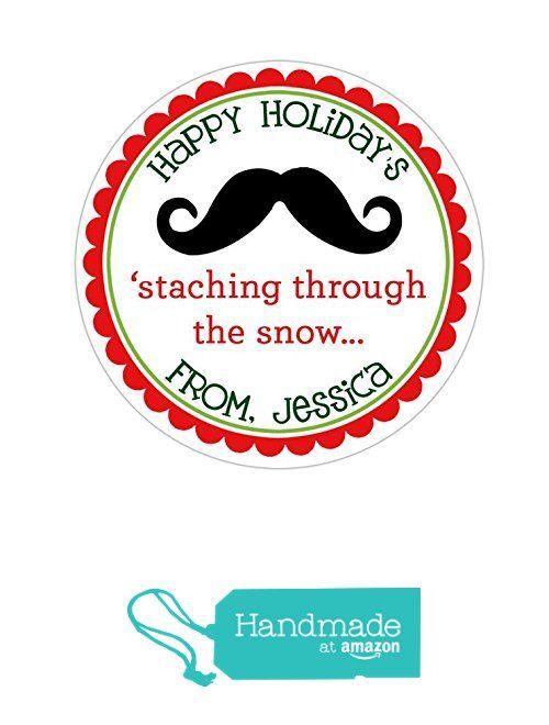 Personalized customized holiday christmas gift stickers mustache round labels choose your size