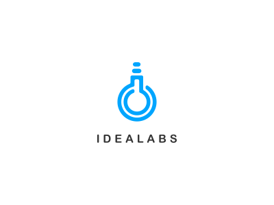 The #logo for Idealabs features a clever icon combining a light bulb and a flask - designed by Dalius Stuoka