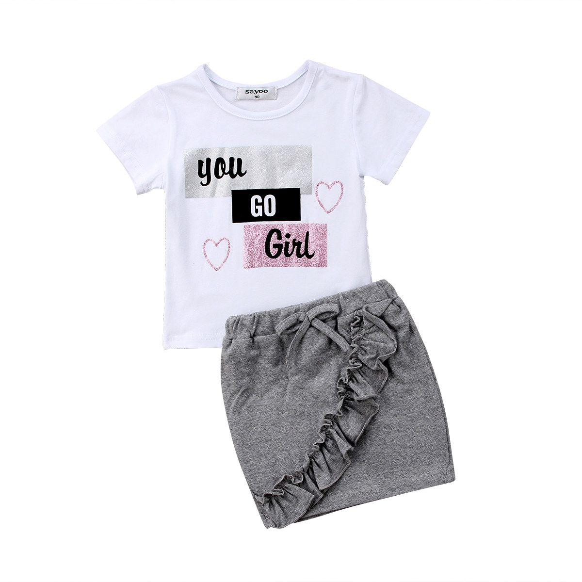 US Toddler Kids Baby Girls T-shirt Vest Tops Shorts Outfits Summer Clothes Set