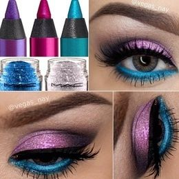 Sparkly purple and blue eyeshadow