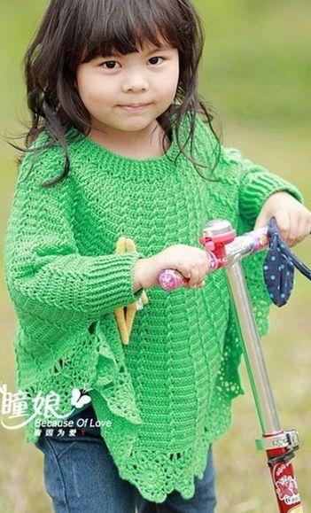 Вязание крючком пончо для девочки схемы вязания 752