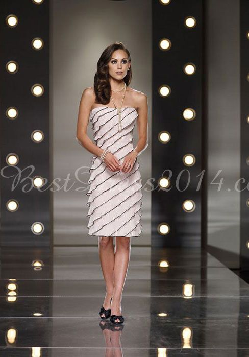 Tiers Sleeveless Knee Length Column Strapless Natural Waist Mother Of The Bride Dress