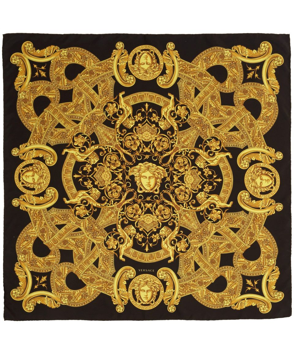 bd35b2c21 Yellow Black and Gold Silk Scarf | VERSACE in 2019 | Versace scarf ...