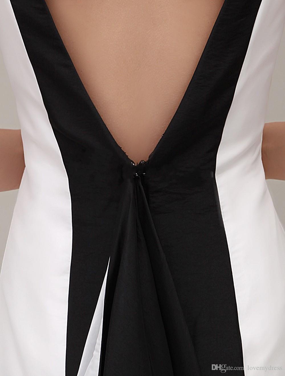 Traje de noche vestidos de noche de la joya barata blanco y Negro vaina delgada Long gProm atractivo Backless sin mangas de cuello de encargo viste el envío libre