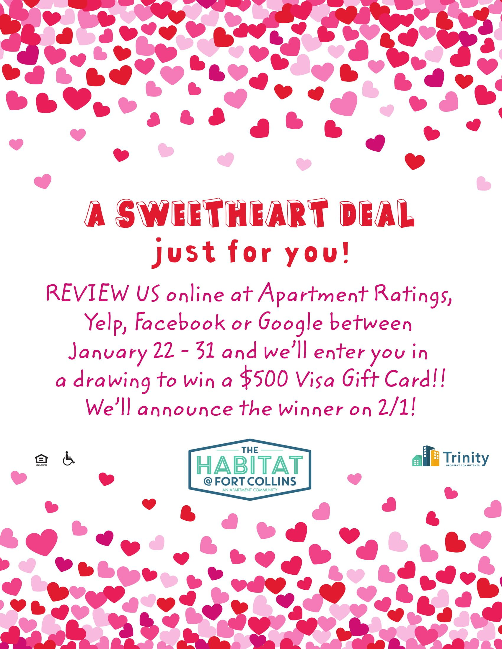You Could Win A 500 Visa Gift Card All You Have To Do Is Review Us Online And You Ll Be Entered It S As Fort Collins Visa Gift Card Fort Collins Apartments