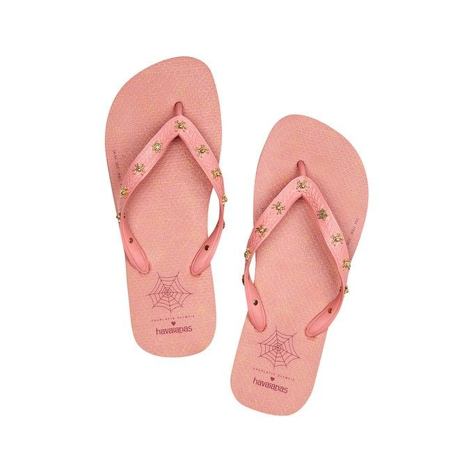 4ec310569b77d7 Luxury meets loungewear with Charlotte s Web Havaianas. Featuring a  signature web print sole and gold metal spider accessories