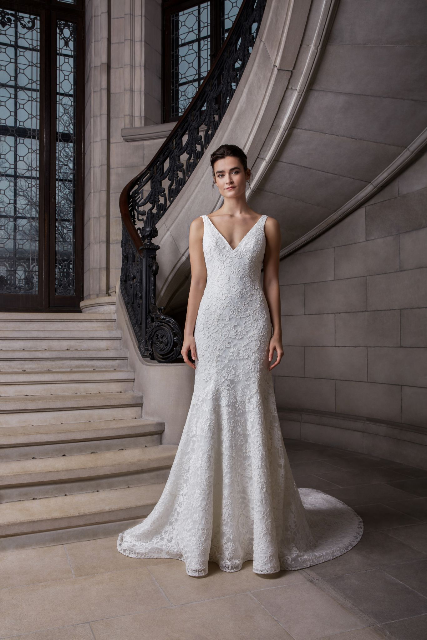 Sleeveless V-neckline Floral Lace Fit And Flare Wedding Dress | Kleinfeld Bridal