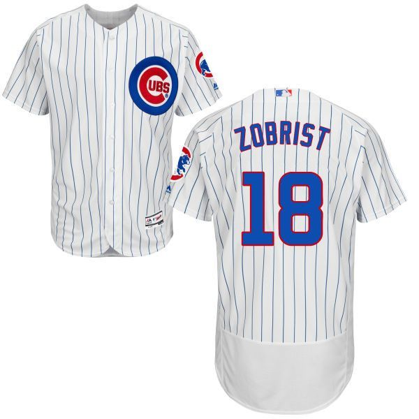 Men s Chicago Cubs Ben Zobrist Majestic Home Flexbase Authentic Collection  Jersey with 100 Years at Wrigley c1949563c