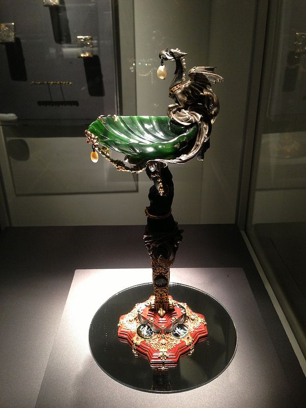 Faberge statuette made of nephrite and smoked topaz with pearls and small precious stones. It was shown in the 1893 Fabergé catalogue.