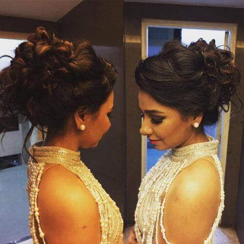 indian messy bun hairstyle for parties short hair