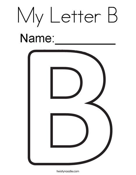 My Letter B Coloring Page Twisty Noodle Letter B Coloring