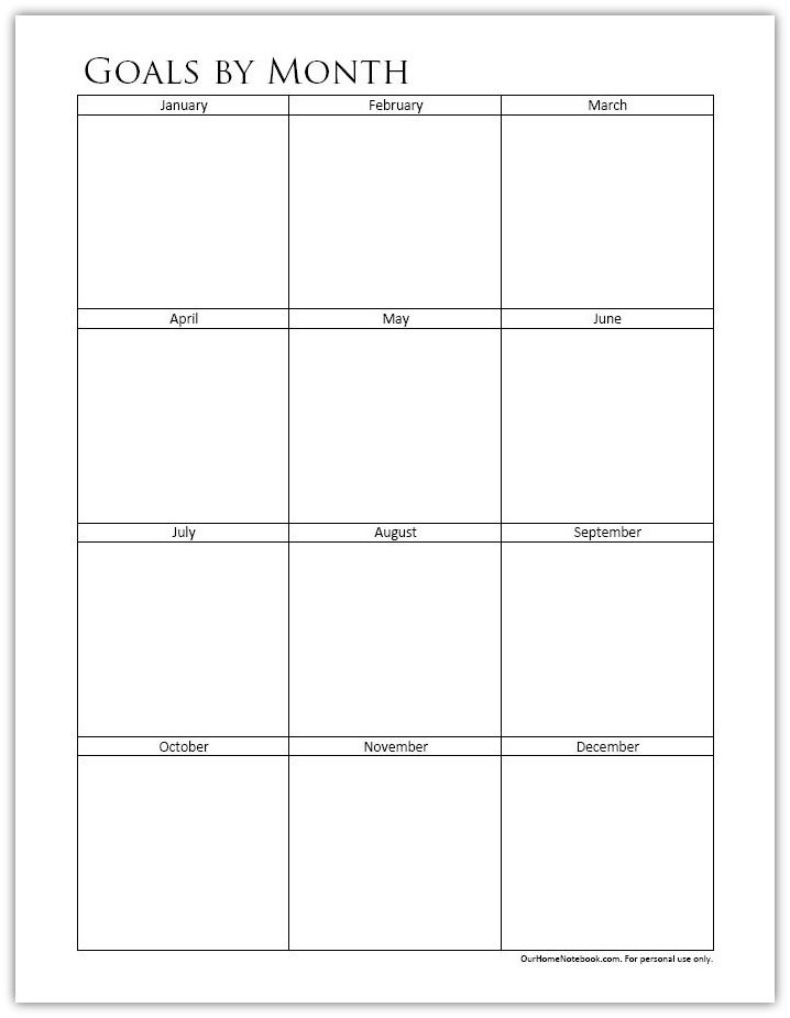Organize your goals by month with a free printable from Our Home ...